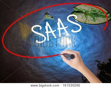 Woman Hand Writing Saas With Marker Over Transparent Board