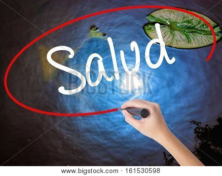 Woman Hand Writing Salud (health In Spanish) With Marker Over Transparent Board.