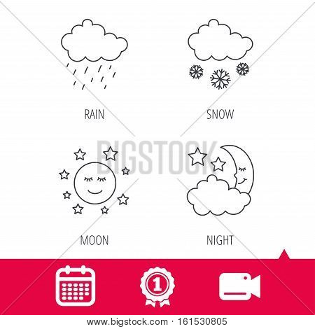 Achievement and video cam signs. Weather, night and rain icons. Moon night and snow linear signs. Calendar icon. Vector