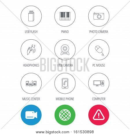 Smartphone, web camera and USB flash icons. Headphones, piano and photo camera linear signs. Computer, music center icons. Video cam, hazard attention and internet globe icons. Vector