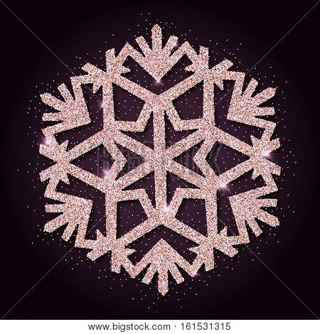 Pink Golden Glitter Splendid Snowflake. Luxurious Christmas Design Element, Vector Illustration.