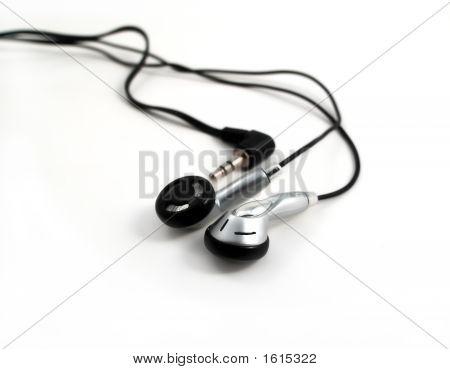 Earphones On White