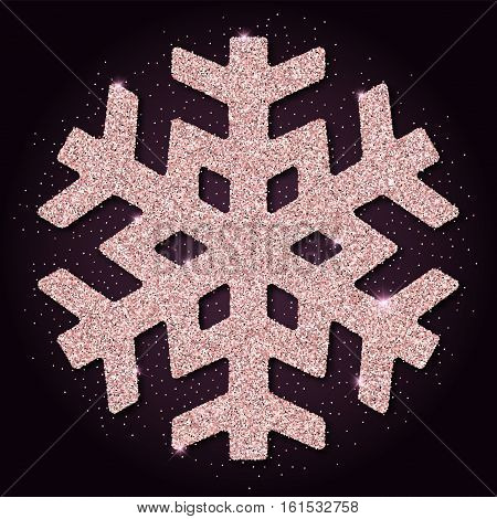 Pink Golden Glitter Classy Snowflake. Luxurious Christmas Design Element, Vector Illustration.