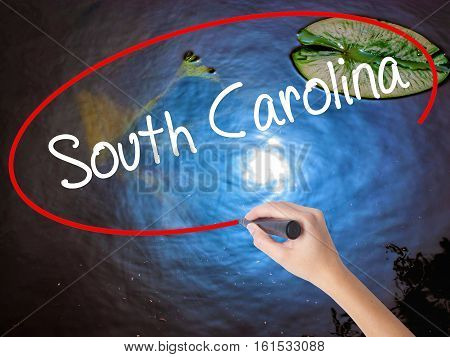 Woman Hand Writing South Carolina With Marker Over Transparent Board.