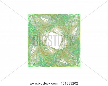 3D Rendrering With Green Fractal Yellow Floral Pattern