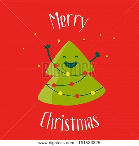Merry Christmas card with a smiling cartoon christmas tree and garland with lights. Flat design. Vector illustration.