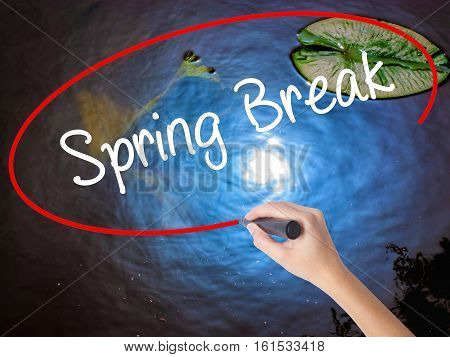 Woman Hand Writing Spring Break No With Marker Over Transparent Board