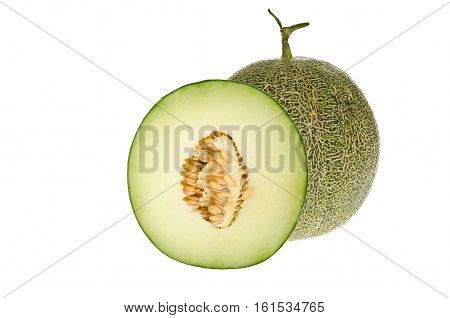 Closeup cantaloupe green melon isolate on white background