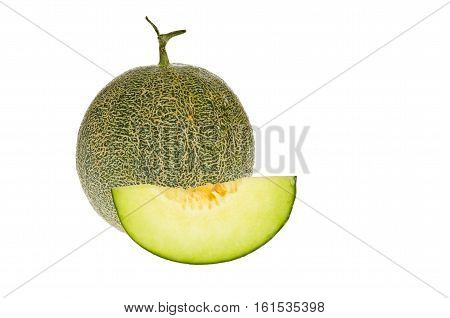 cantaloupe green melon isolate on white background