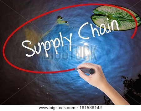 Woman Hand Writing Supply Chain With Marker Over Transparent Board