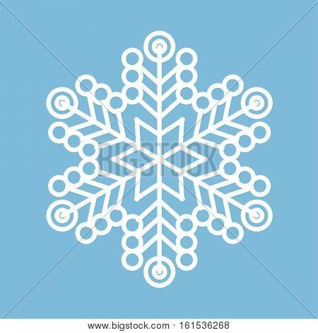 Thin line white snowflake on blue background icon vector set.