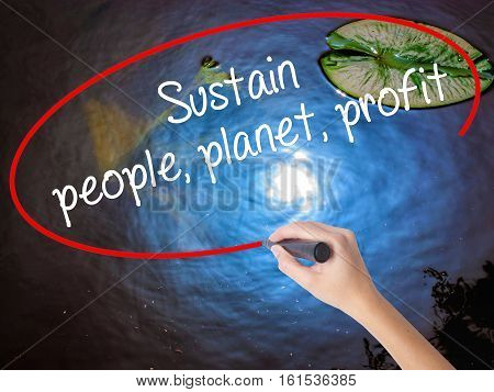 Woman Hand Writing Sustain, People, Planet, Profit With Marker Over Transparent Board