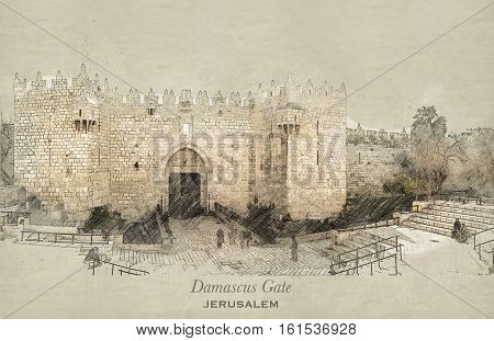 Sketch of Damascus Gate in retro style raster illustration travel greeting card postcard poster with cityscapes of Jerusalem Israel