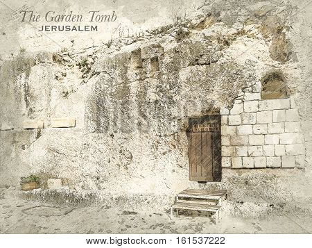 Sketch of Garden Tomb in retro style raster illustration travel greeting card postcard poster with cityscapes of Jerusalem Israel