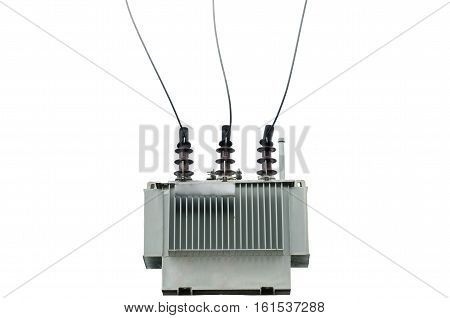electric transformer on isolate white background, electric power