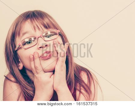 Funny Little Girl In Glasses