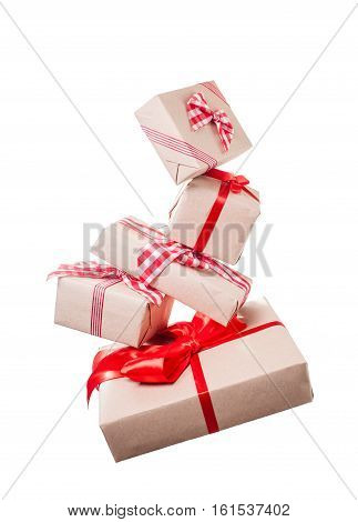 Christmas gift boxes levitation isolated on white background