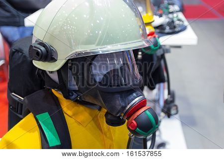 Helmet and oxygen mask on a mannequin lifeguard. Industry