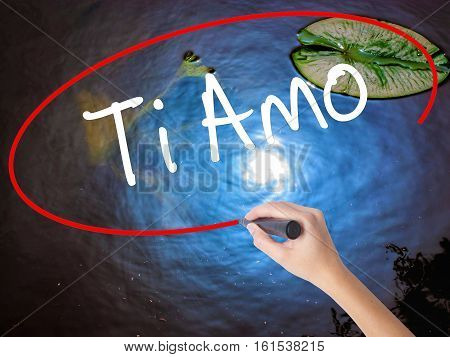 Woman Hand Writing Ti Amo (i Love You In Italian) With Marker Over Transparent Board.