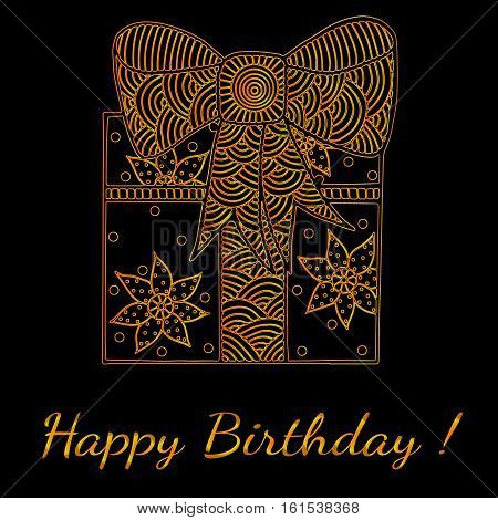 Happy Birthday gold greeting card with gift box. Can be used for card invitation posters texture backgrounds placards banners.