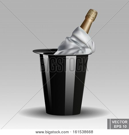 Champagne In The Bucket. Celebration. Alcoholic Drink. Realistic.