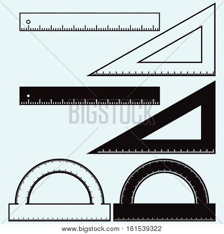Wooden rulers and triangles set. Isolated on white background. Vector doodle style