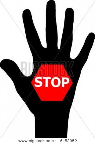 Stop hand - vector illustration