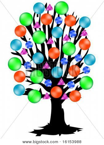 Color tree with globe- vector illustration