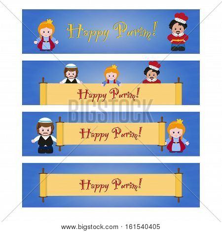 Set of Purim banners with Esther Mordecai and Achashverosh. Jewish holiday of Purim. Vector illustration of fun characters in cartoon style
