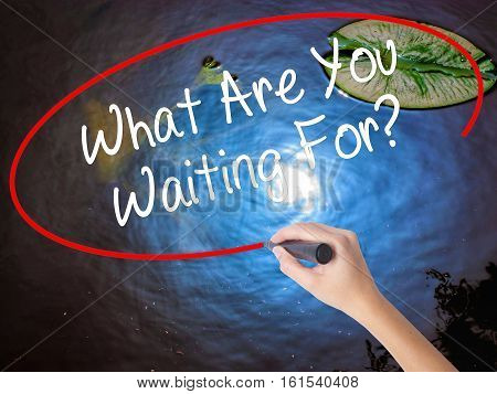 Woman Hand Writing What Are You Waiting For?  With Marker Over Transparent Board