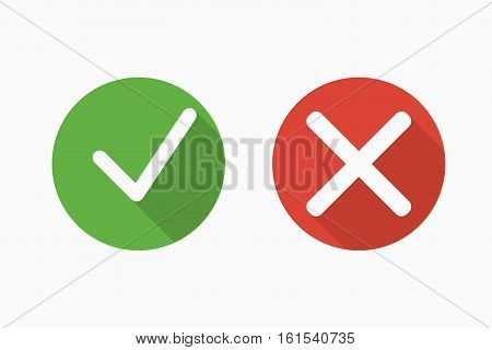 Confirm and deny icons with shadows in flat style. Green and red. Vector illustration