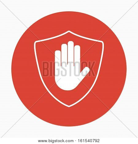 Shield with hand block icon in flat style without shadow. Stop hand red prohibition. Vector illustration