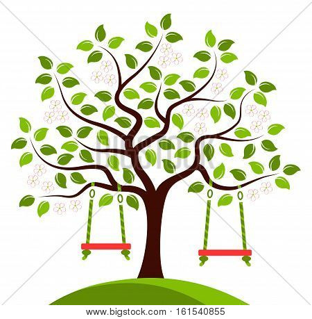 vector flowering tree with swings isolated on white background