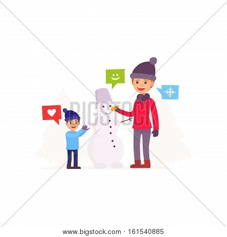 Family sculpts snowman. Family playing with a snowman. Merry Christmas and New Year. Vector illustration in cartoon style