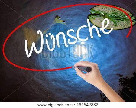 Woman Hand Writing Wunsche (wishes In German) With Marker Over Transparent Board
