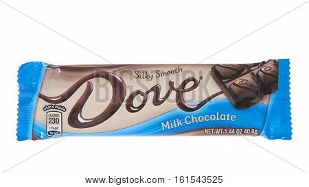 ALAMEDA CA - JANUARY 01 2016: One Silky Smooth Dove Milk Chocolate Candy Bar. Dove is a brand of chocolate made and marketed by the Mars company.