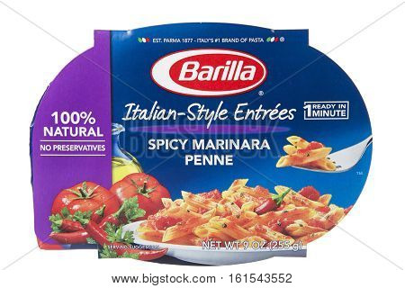 ALAMEDA CA - JANUARY 14 2016: one 9 ounce package of Barilla brand Italian Style Entrees. Spicy Marinara Penne flavor. Ready in about one minute