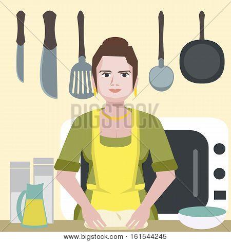 enthusiastic funny woman character at kitchen - vector cartoon illustration