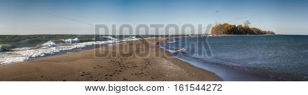 Panoramic view of Point Pelee National Park beach on Lake Erie, southwestern Ontario, Canada