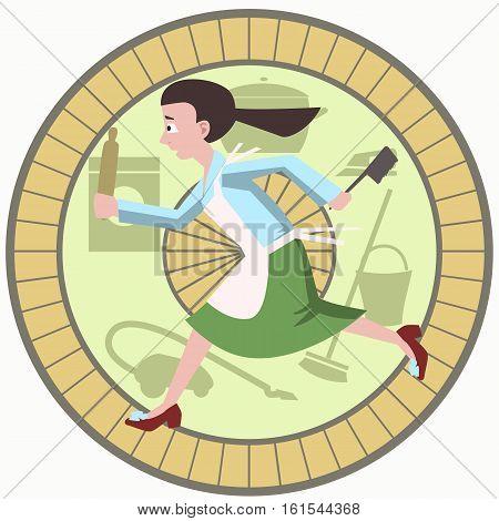 housewife running with kitchen tools in hamster wheel cartoon - funny vector cartoon illustration