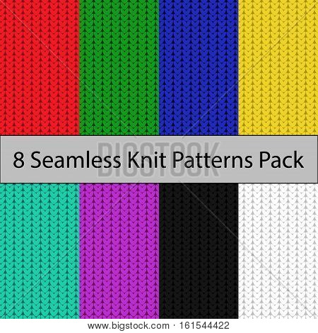 Eight seamless color knit patterns pack red green blue yellow cian lavender black white colors