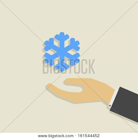 hand with snowflake icon