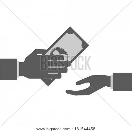 hand giving and taking money black icon