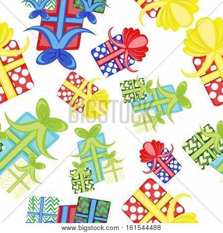Seamless pattern with gifts presents b-day birthday christmas new year holiday celebration