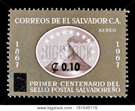 SALVADOR - CIRCA 1967 : Cancelled stamp printed by Salvador, that shows Volcano.