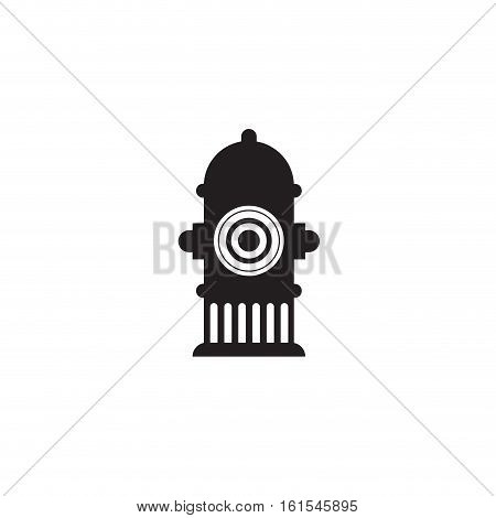 Icon fire hydrant. Single silhouette fire equipment icon. Vector illustration. Flat style