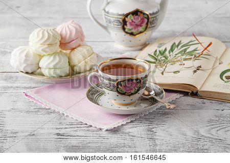Cup Of Tea, Book On Wooden Table