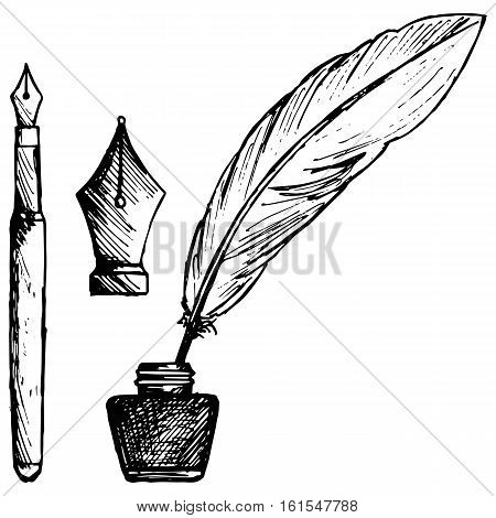 Ancient pen inkwell and old ink pen. Isolated on white background. Vector doodle style