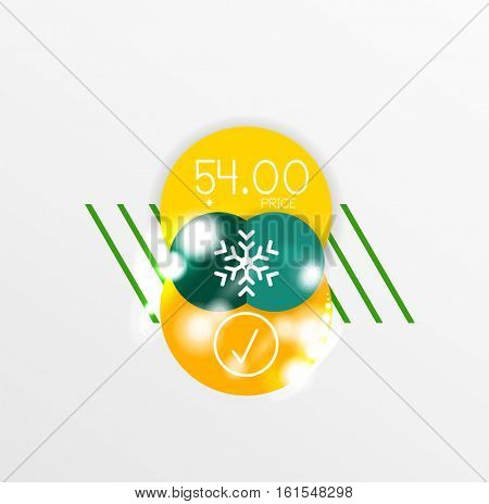 Vector Christmas label or price tag stickers with light effects