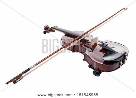 Wooden brown violin with stick on white background